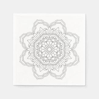 Vector ornate mandala illustration for coloring b disposable serviette