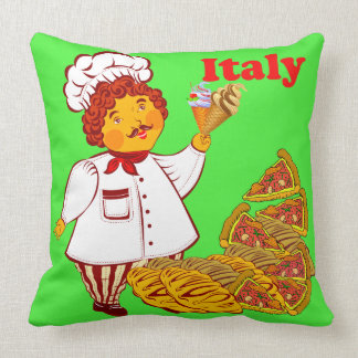 Vector Pizza, ice cream, man Italy Cushion