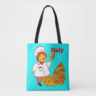 Vector Pizza, ice cream, man Italy Tote Bag