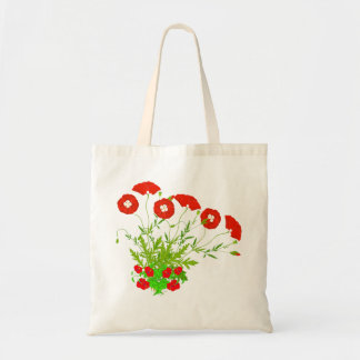 Vector  Poppies and Red Flowers Budget Tote Bag
