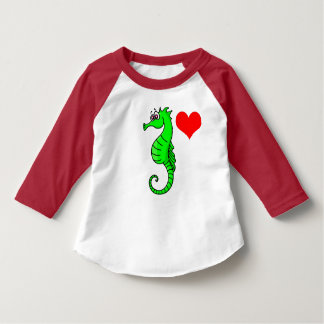 Vector  Red Heart and Green Seahorse T-Shirt