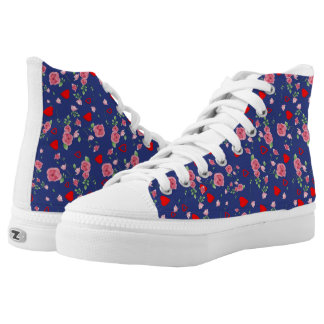 Vector Seamless rose and Hearts Printed Shoes