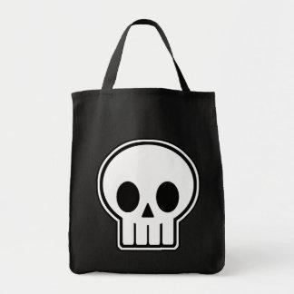 Vector Skull Halloween Trick or Treat Grocery Tote Bag