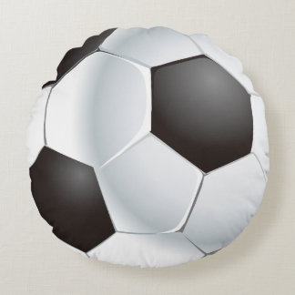Vector Soccer Ball Round Cushion