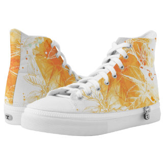 Vector Watercolor Background & Tropical Flowers Printed Shoes