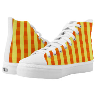 Vector Yellow checked pattern Printed Shoes