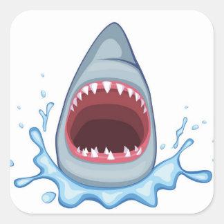 vectorstock_383155 Cartoon Shark Teeth hungry Square Sticker