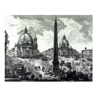 Veduta della Piazza del Popolo, c.1750 Postcard