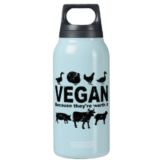 VEGAN because they're worth it (blk) Insulated Water Bottle