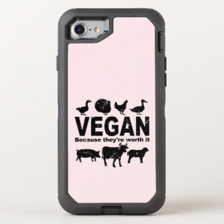 VEGAN because they're worth it (blk) OtterBox Defender iPhone 8/7 Case