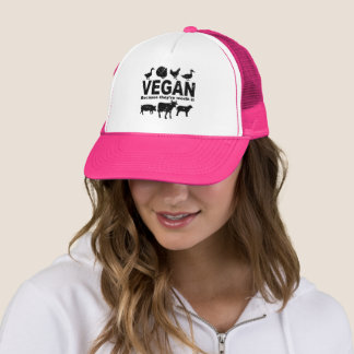 VEGAN because they're worth it (blk) Trucker Hat
