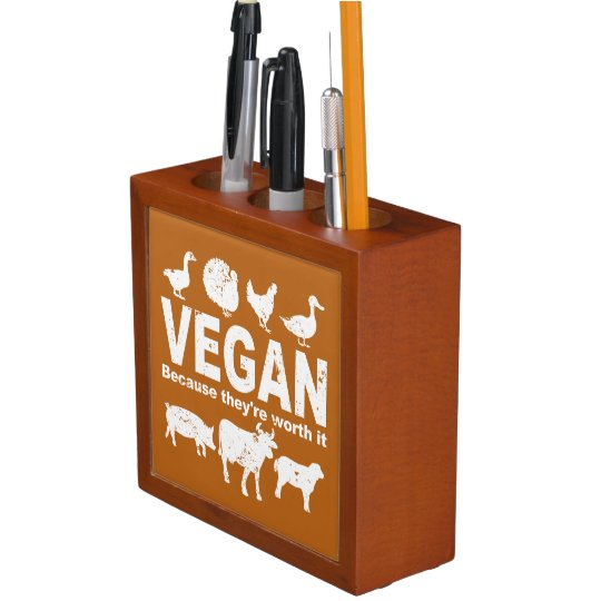 VEGAN because they're worth it (wht) Desk Organiser