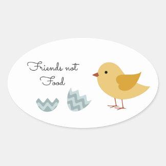 Vegan Chick Friends Not Food Oval Sticker