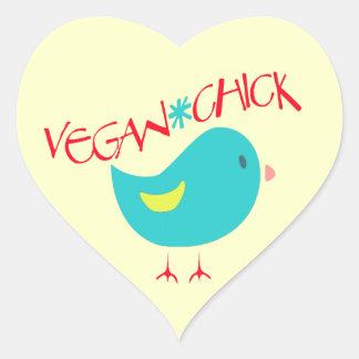 Vegan Chick Heart Sticker