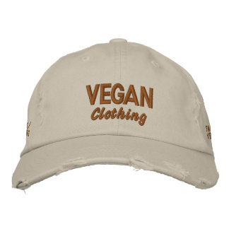 VEGAN Clothing Distressed Embroidered Hat