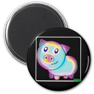 Vegan coloured pig 6 cm round magnet