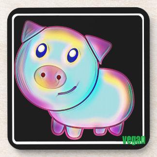 Vegan coloured pig coaster