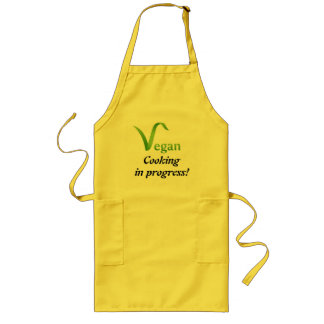Vegan Cooking in Progress Yellow Long Apron