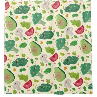 Vegan cute cartoon vegetable characters pattern shower curtain