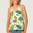 Vegan cute cartoon vegetable characters pattern singlet
