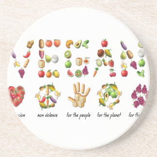 Vegan Emoji Collage Earth Animals People Peace Coaster