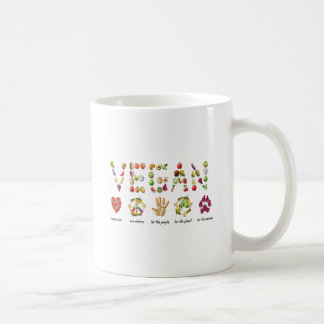 Vegan Emoji Collage Earth Animals People Peace Coffee Mug
