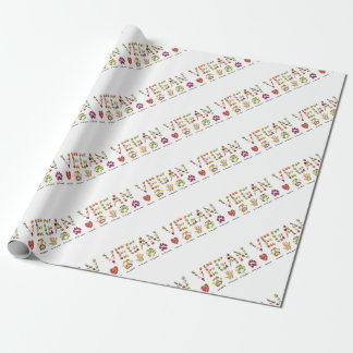 Vegan Emoji Collage Earth Animals People Peace Wrapping Paper