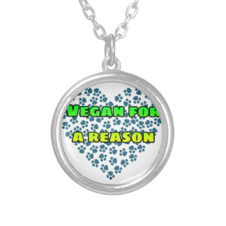 Vegan for a reason silver plated necklace
