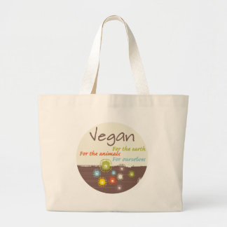 Vegan. For Earth, For Animals, For Ourselves Large Tote Bag