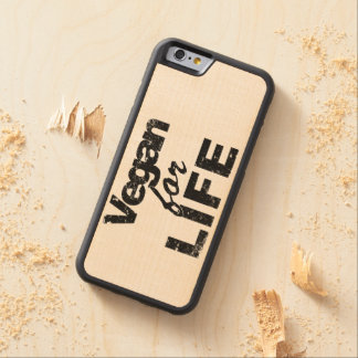 Vegan for LIFE (blk) Carved Maple iPhone 6 Bumper Case