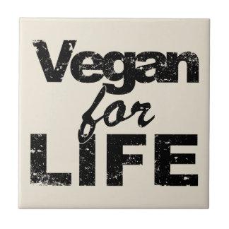Vegan for LIFE (blk) Ceramic Tile