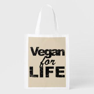 Vegan for LIFE (blk) Reusable Grocery Bag