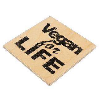 Vegan for LIFE (blk) Wood Coaster
