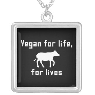 Vegan for life silver plated necklace