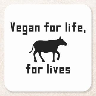 Vegan for life square paper coaster