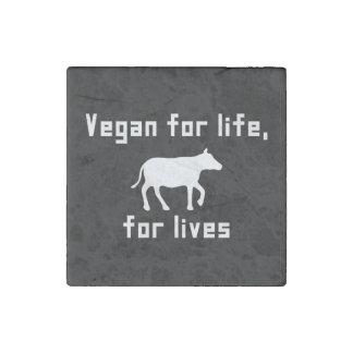 Vegan for life stone magnet