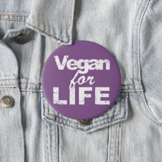 Vegan for LIFE (wht) 10 Cm Round Badge
