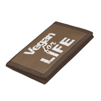 Vegan for LIFE (wht) Tri-fold Wallets