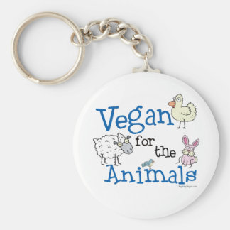 Vegan for the Animals Basic Round Button Key Ring