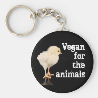 Vegan for the animals - Chick Basic Round Button Key Ring