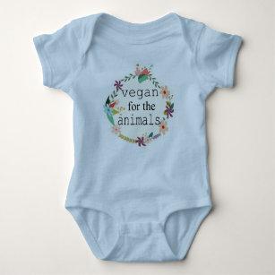 Vegan for the animals floral design vest baby bodysuit