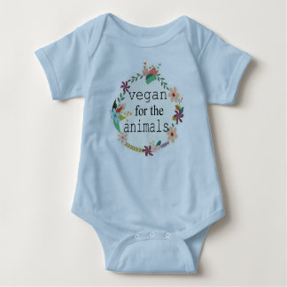 Vegan for the animals floral design vest baby bodysuit