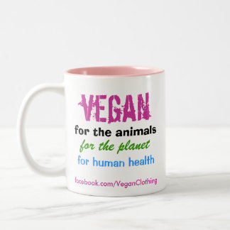 Vegan for the animals Two-Tone mug