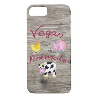 """""""Vegan for the Animals"""" with Cute Pig, Cow & Hen iPhone 8/7 Case"""