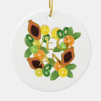 Vegan fruit ceramic ornament