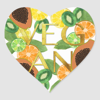 Vegan fruit heart sticker