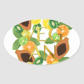 Vegan fruit oval sticker