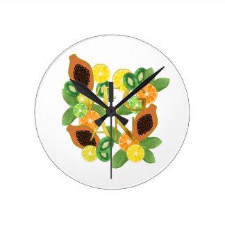 Vegan fruit round clock