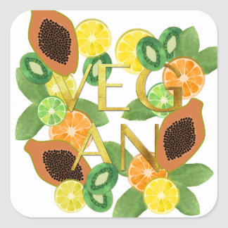 Vegan fruit square sticker