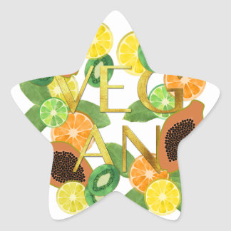 Vegan fruit star sticker